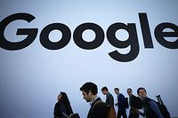 LAS VEGAS, NEVADA - JANUARY 08: People walk past the Google pavilion at CES 2020 at the Las Vegas Convention Center on January 8, 2020 in Las Vegas, Nevada. CES, the world's largest annual consumer technology trade show, runs through January 10 and features about 4,500 exhibitors showing off their latest products and services to more than 170,000 attendees.   Mario Tama/Getty Images/AFP == FOR NEWSPAPERS, INTERNET, TELCOS & TELEVISION USE ONLY ==