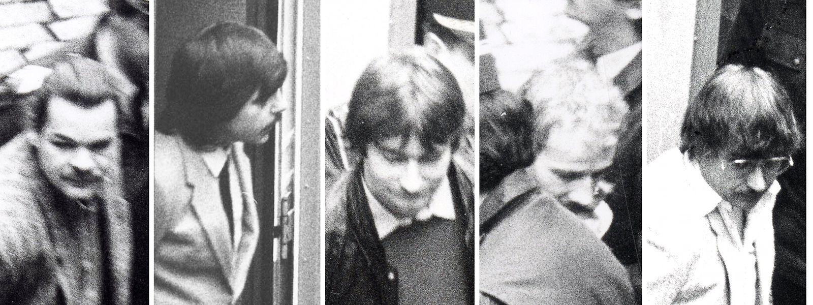 Als der Prozess am 7. März erneut beginnt, steigen die fünf inhaftierten Angeklagten wie Popstars aus dem Gefangenentransporter(v.l.n.r.): Guy Hertert, Carlo Fett, Nico Reisdorff, Jos Bernardy und Dieter Schuch.