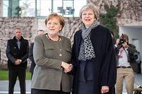 09.04.2019, Berlin: Bundeskanzlerin Angela Merkel (CDU) empfängt die britische Premierministerin Theresa May vor dem Bundeskanzleramt zu einem Gespräch. Thema ist die Vorbereitung des Brexit-Sondergipfels der EU. Foto: Michael Kappeler/dpa +++ dpa-Bildfunk +++
