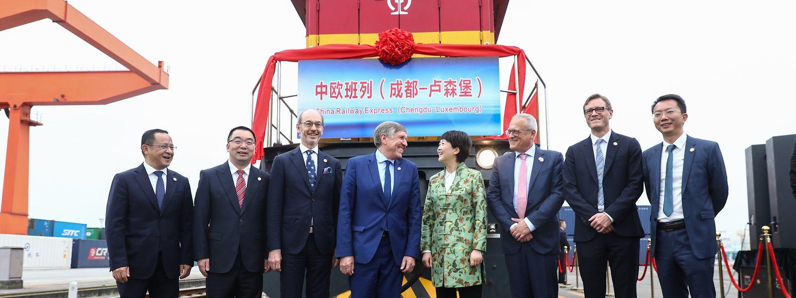 En octobre 2019, le convoi chinois avait été accueilli en grande pompe au centre multimodal.