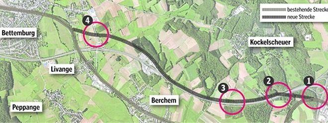 Die neue Zugstrecke zweigt unweit des Peripheriebahnhofs Howald in Richtung Süden ab (1) und überquert dann in Höhe Kockelscheuer die Autobahn A3 (2). Die Autobahnbrücke an der Rue de Roeser (3) zwischen Kockelscheuer und Biwingen wird abgerissen und durch eine neue ersetzt. Kurz vor Bettemburg (4) führt die Zuglinie dann unter der N31 hindurch. Hier wird eine neue Brücke für den Straßenverkehr gebaut.