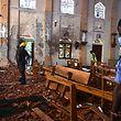 L'intérieur dévasté de l'église Saint Sébastien  à Negombo.