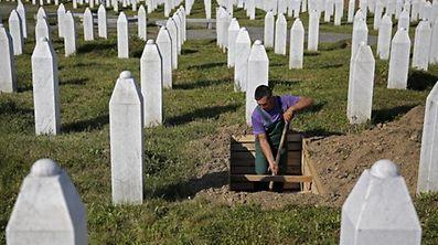 Die Gedenkstätte in Potocari erinnert an die Opfer des Massakers.