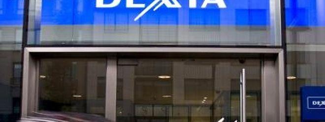 Der Eingang einer Dexia Bank in Brüssel.