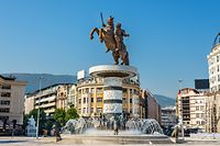 SKOPJE, MACEDONIA - OCTOBER 25, 2015: Close up on Alexander the Great statue on Skopje's main square. Inaugurated in 2012, it became one of the landmarks of the city. (SHUTTERSTOCK)