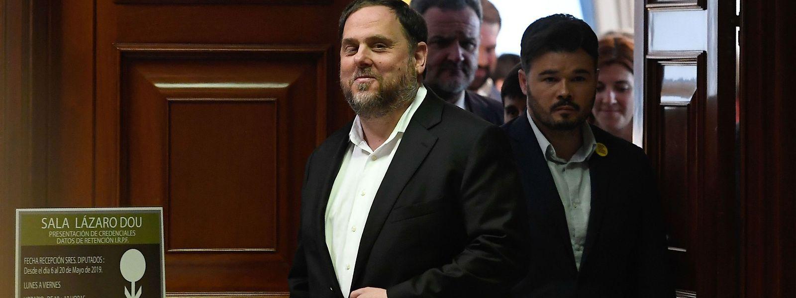 Kataloniens Ex-Vizepräsident Oriol Junqueras, einer der neun Angeklagten, beim Verlassen des Gerichtssaals.