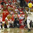 HOUSTON, TX - APRIL 24: Donovan Mitchell #45 of the Utah Jazz battles with Chris Paul #3 of the Houston Rockets for a loose ball in the first half during Game Five of the first round of the 2019 NBA Western Conference Playoffs between the Houston Rockets and the Utah Jazz at Toyota Center on April 24, 2019 in Houston, Texas. NOTE TO USER: User expressly acknowledges and agrees that, by downloading and or using this photograph, User is consenting to the terms and conditions of the Getty Images License Agreement.   Tim Warner/Getty Images/AFP == FOR NEWSPAPERS, INTERNET, TELCOS & TELEVISION USE ONLY ==