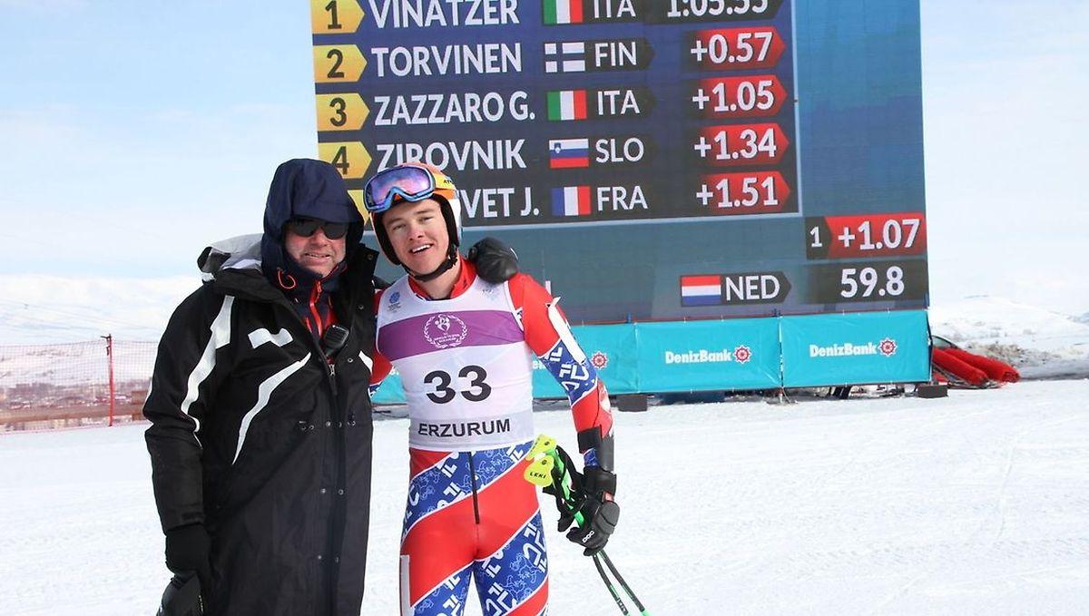 Matthieu Osch, hier mit seinem Vater Gilles, vertrat die Luxemburger Farben im vergangenen Jahr beim europäischen olympischen Jugendfestival im türkischen Erzurum.