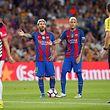 Mit blonden Haaren zum Erfolg: Die Barcelona-Stars Lionel Messi (l.) und Neymar.