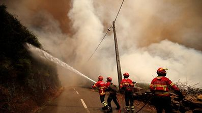 Firefighters work to put out a forest fire in the village of Sandinha, near Gois, Portugal, June 20, 2017. REUTERS/Rafael Marchante