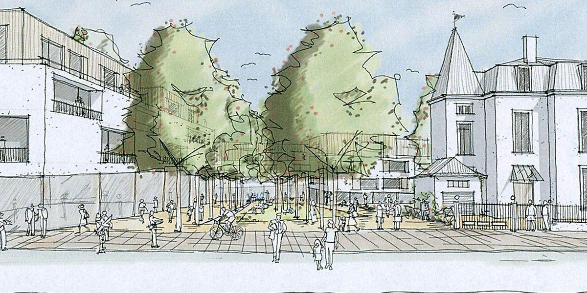 Blick in die Zukunft: So soll das neue Viertel, von der Rue Alexis Heck aus betrachtet, aussehen.