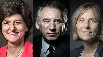 La ministre de la Défense, Sylvie Goulard, le ministre de la Justice, François Bayrou et la ministre aux affaires européennes, Marielle de Sarnez.