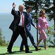 US-Präsident Trump neben Kanadas Premier Justin Trudeau und dessen Frau.