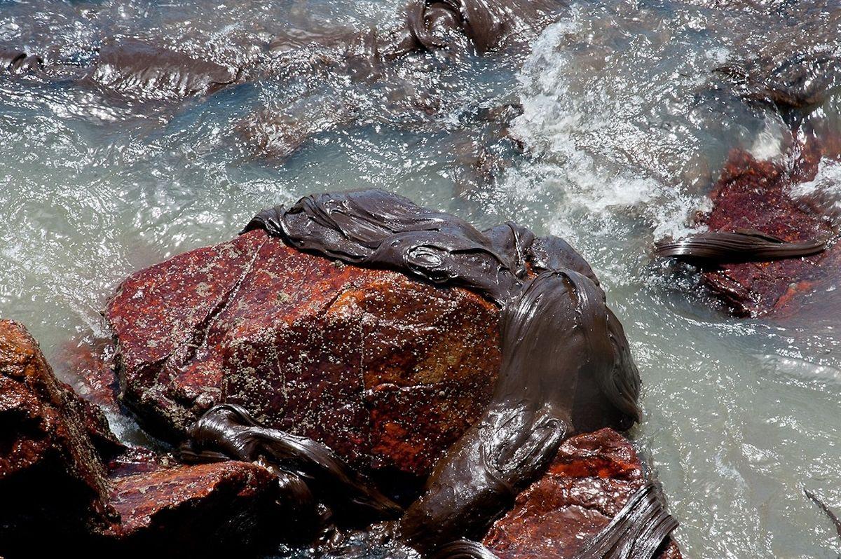 Les galettes de pétrole s'accrochent aux rochers et s'échouent sur les plages.