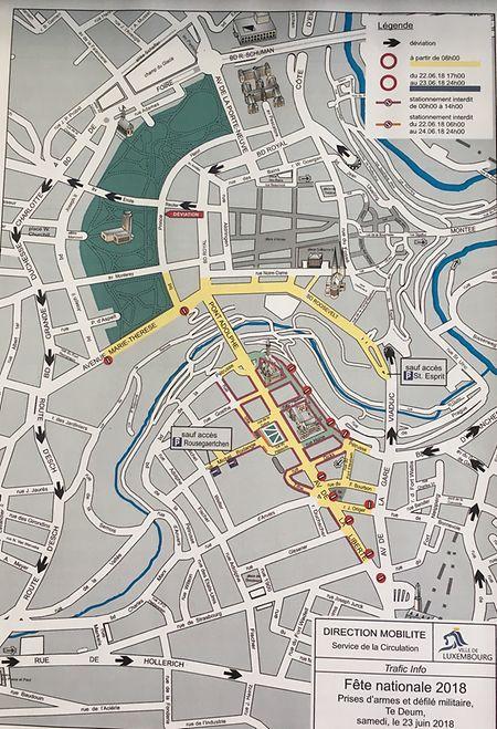 Plan de circulation pour le 23 juin.