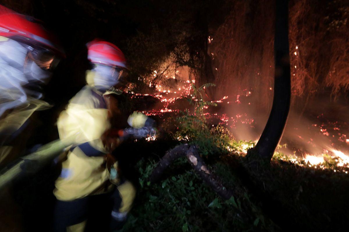 Feuerwehrleute bei einem Löscheinsatz in Castagniers in der Nähe von Nice.