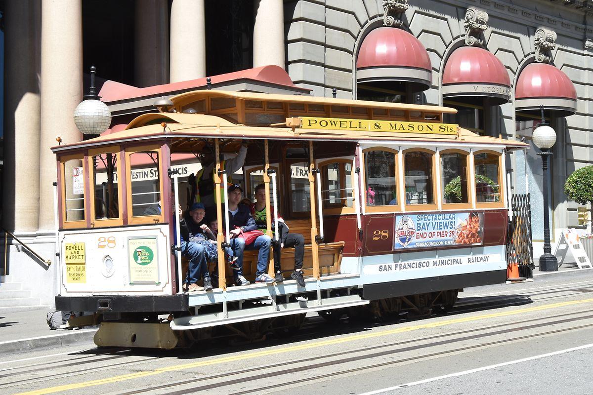 Un cable-car, un symbole de la ville de San Francisco.