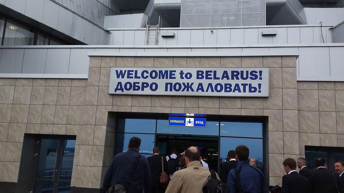 L'arrivée de la délégation grand-ducale à l'aéroport international de Minsk