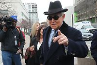 WASHINGTON, DC - FEBRUARY 20: Former advisor to U.S. President Donald Trump, Roger Stone, arrives at the E. Barrett Prettyman United States Courthouse, on February 20, 2020 in Washington, DC. Stone is due to be sentenced today after he was found guilty on seven felony counts of obstructing a congressional investigation into Russias interference in the 2016 election.   Mark Wilson/Getty Images/AFP == FOR NEWSPAPERS, INTERNET, TELCOS & TELEVISION USE ONLY ==