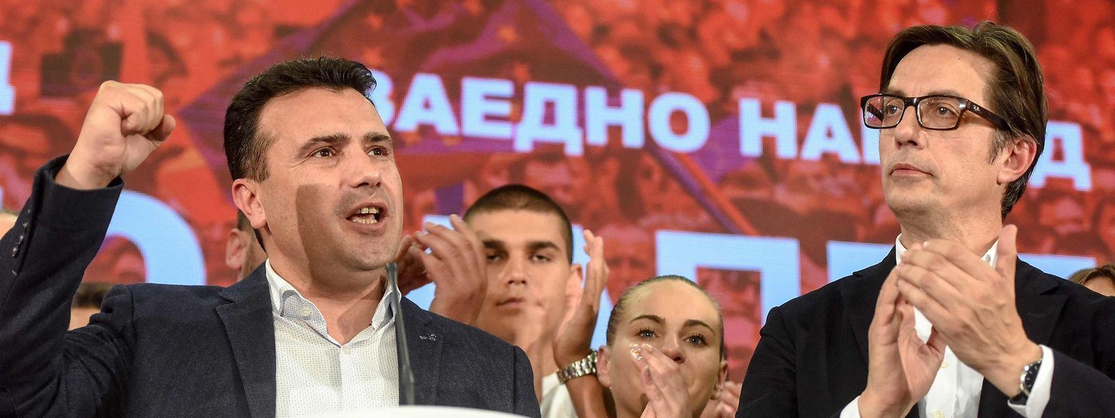 Der Jurist und Politologe Pendarovski (rechts) tritt die Nachfolge des mit der VMRO-DPMNE verbundenen Djordje Ivanov an.