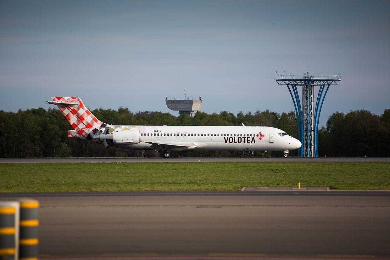 Die Volotea-Maschine bei ihrer Ankunft in Luxemburg.