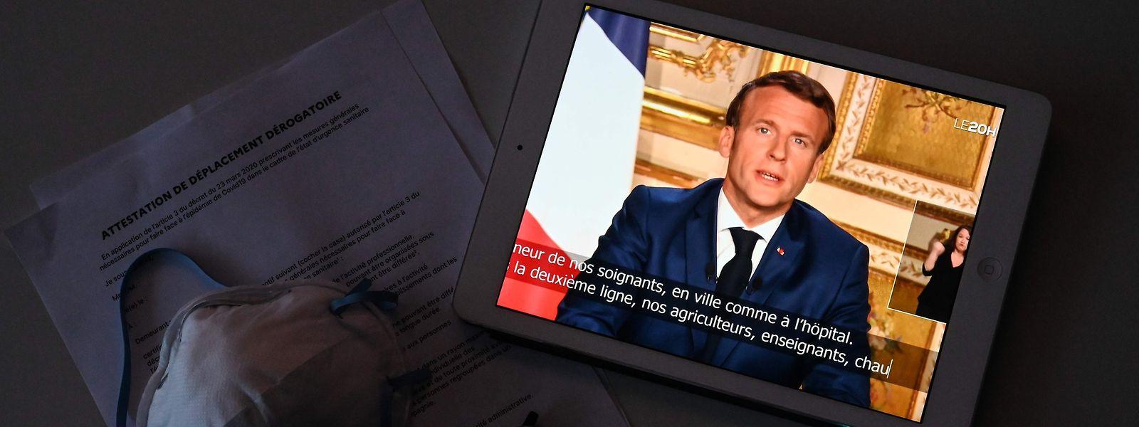 Emmanuel Macron hat sich am Montag bereits zum dritten Mal in der Corona-Pandemie an die Bevölkerung gewandt.
