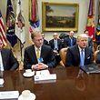 Am Montag versprach US-Präsident Donald Trump den Wirtschaftsführern Steuererleichterungen. Unter ihnen war Elon Musk, Gründer des Raumfahrtunternehmens SpaceX (l.).