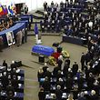 The coffin of late former German Chancellor Helmut Kohl is placed in the plenary room during of a memorial ceremony at the European Parliament in Strasbourg, France, July 1, 2017. REUTERS/Francois Lenoir