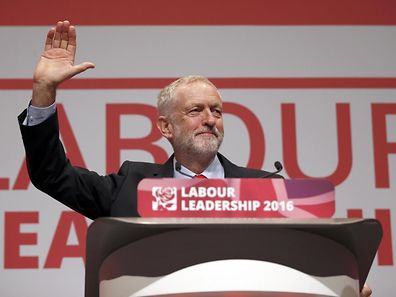 The leader of Britain's opposition Labour Party, Jeremy Corbyn, reacts after the announcement of his victory in the party's leadership election, in Liverpool, Britain September 24, 2016.