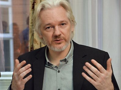 WikiLeaks founder Julian Assange during a news conference at the Ecuadorian embassy in central London