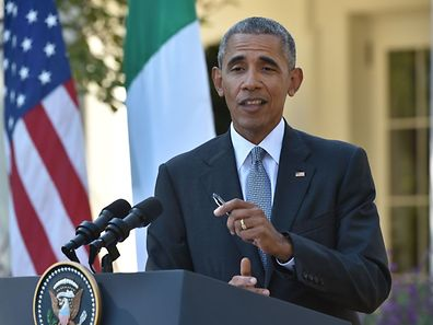 US President Barack Obama speaks during a joint press conference with Italian Prime Minister Matteo Renzi at the White House in Washington, DC, October 18, 2016