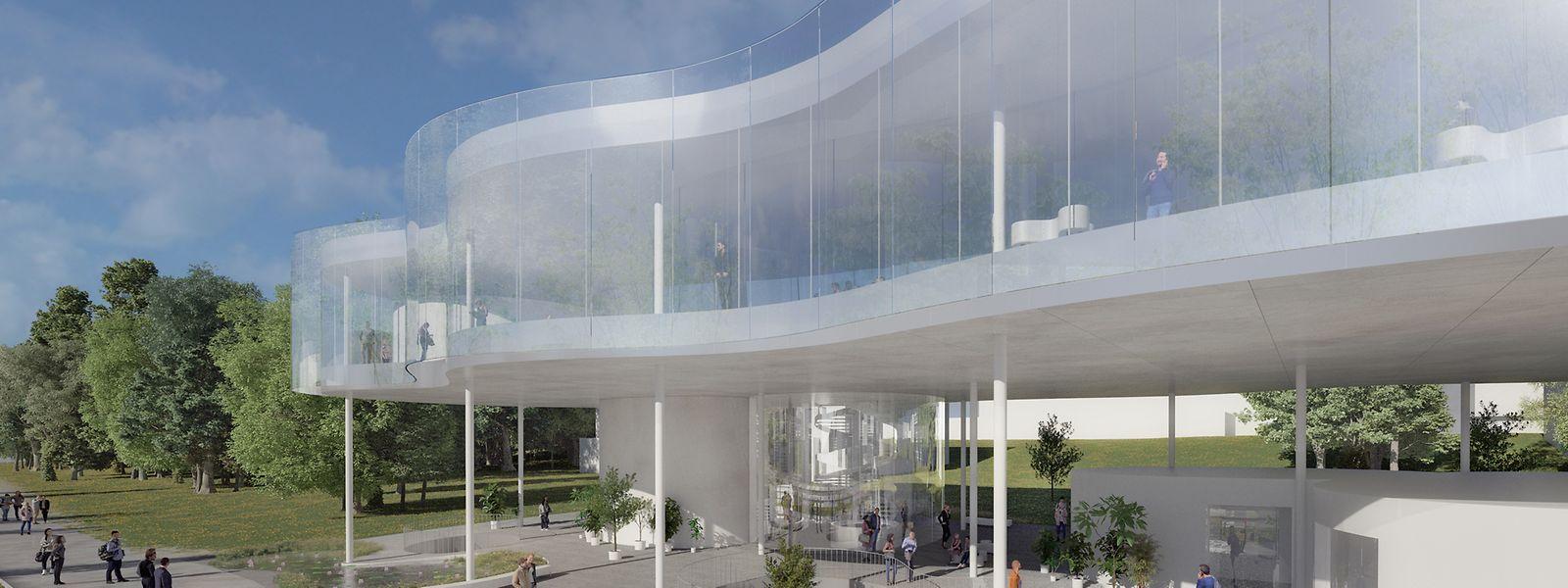 Das neue Eingangsportal zum Campus Kirchberg soll durch seine offene, transparente Struktur und seine Glasfassade auftrumpfen.