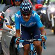 Team Movistar rider Ecuador's Richard Carapaz competes in stage 14 of the 102nd Giro d'Italia - Tour of Italy - cycle race, from Saint-Vincent to Courmayeur on May 25, 2019. (Photo by Luk BENIES / AFP)