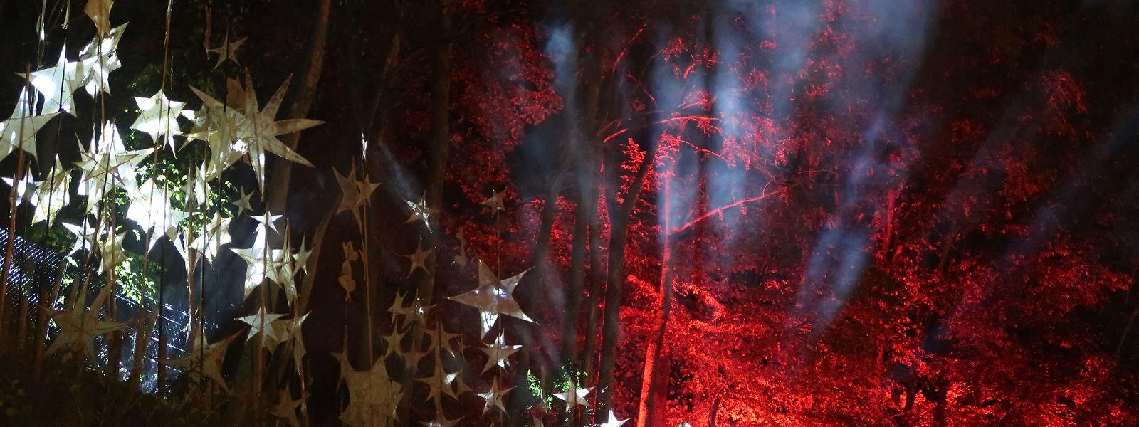 Nach Einbruch der Dunkelheit bot sich dem Besucher vor allem im Jardin de Wiltz ein sehr beeindruckendes Lichtspektakel.