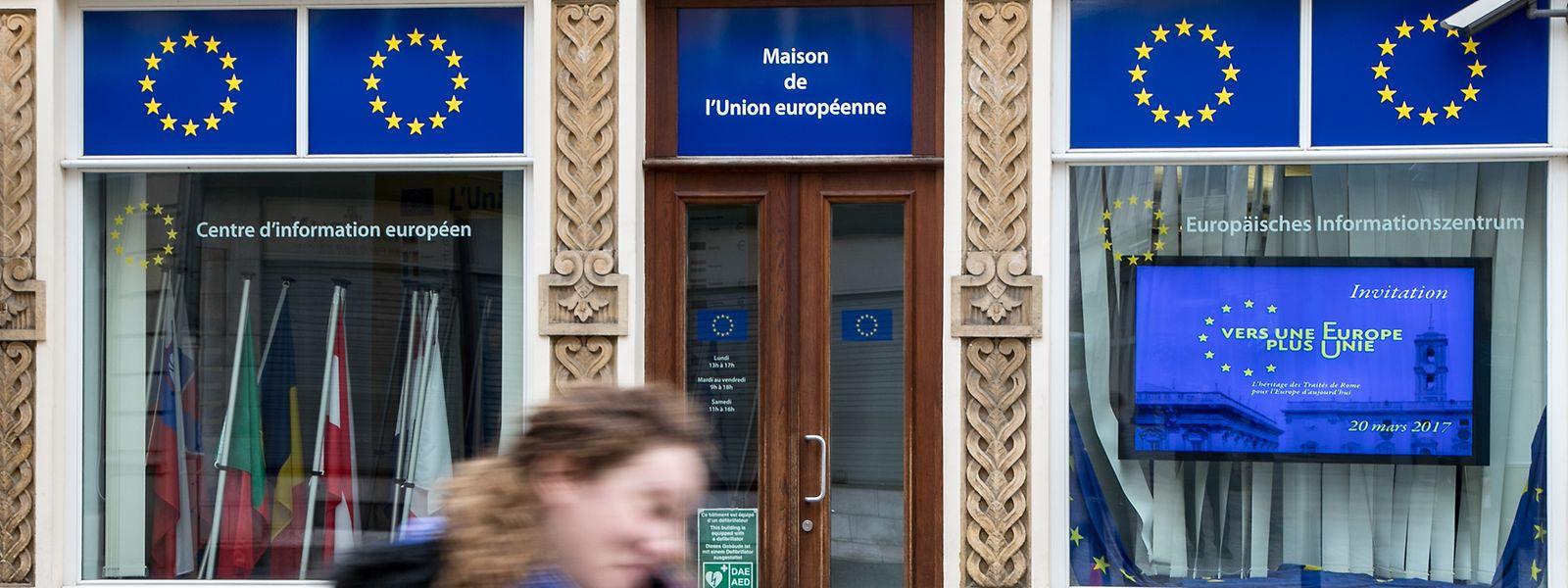 L'Eurobaromètre a été présenté à la Maison de l'Europe, rue du Marché-aux-Herbes.