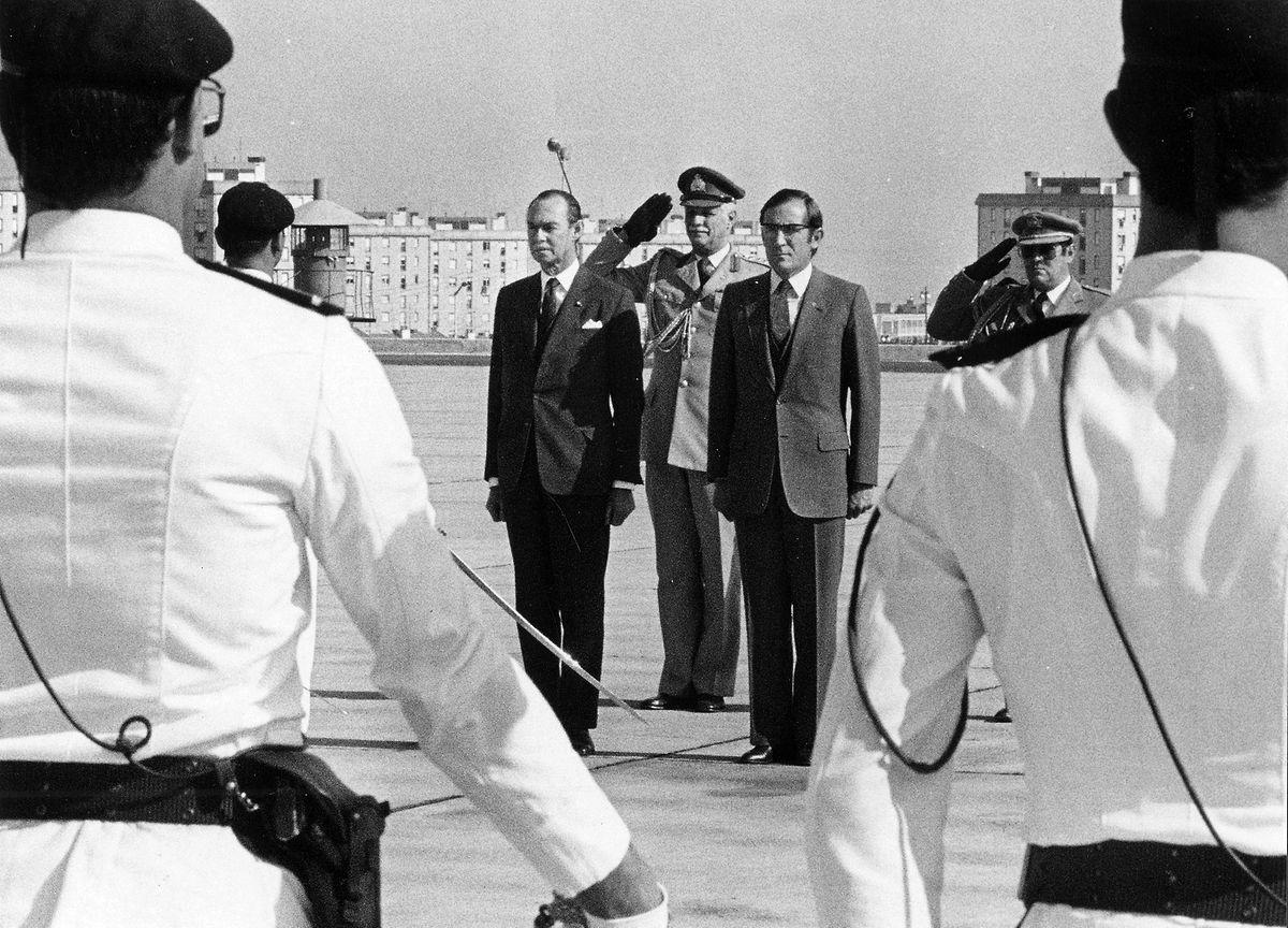 Com Ramalho Eanes, durante a visita a Portugal, em outubro de 1984.