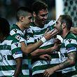 Jogadores do Sporting festejam mais um golo