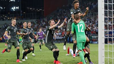 Soccer Football - England v Germany - UEFA Euro U21 Championships Semifinals - City Stadium, Tychy, Poland - 27 June, 2017. Germany's players celebrate after winning the match in the penalty shoot-out. REUTERS/Andrzej Iwanczuk