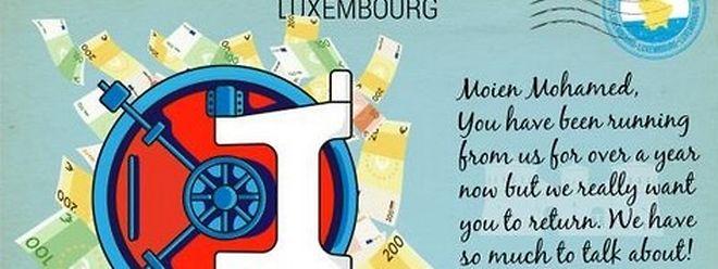 "Die ""Postkarte"" der Luxemburger Polizei geht an Mohamed Ezzi."