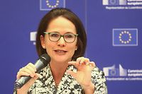 Luxtimes,PK Eurobarometre.Yuriko Backes.Foto: Gerry Huberty/Luxemburger Wort