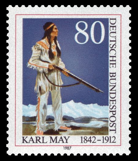 Späte Ehre: Zum 75. Todestag brachte die Deutsche Bundespost eine Winnetou-Sondermarke heraus.