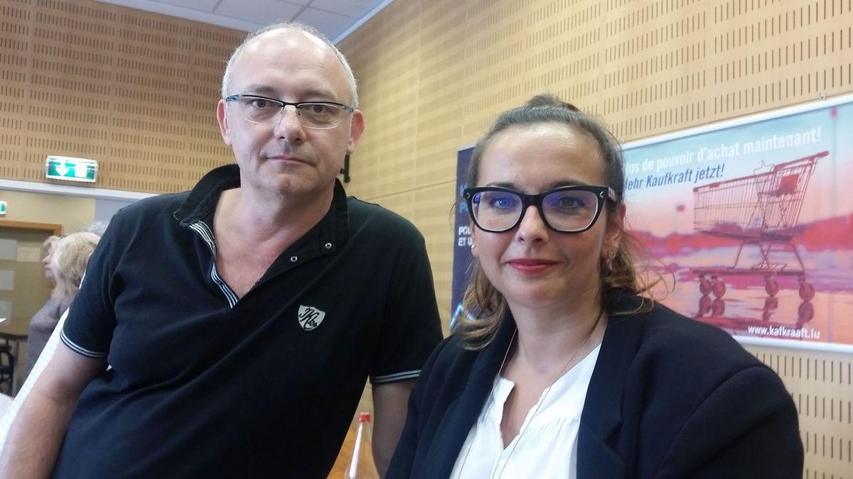 «Nous ne voulons pas la grève mais juste notre revalorisation», explique Christophe Csato, délégué du personnel à Bettembourg, aux côtés de Nora Back, secrétaire centrale du Syndicat santé, services sociaux et éducatifs de l'OGBL.
