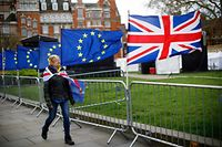 An anti-Brexit protester draped in a composite if the EU and Union flag walks past more flags outside the Houses of Parliament in London on March 4, 2019. - Britain's Prime Minister Theresa May has promised to return to parliament with an EU Withdrawl Bill for lawmakers to have a 'meaningful vote' by March 12. Unless there is a negotiated delay Britain will leave the EU on March 29. (Photo by Tolga Akmen / AFP)