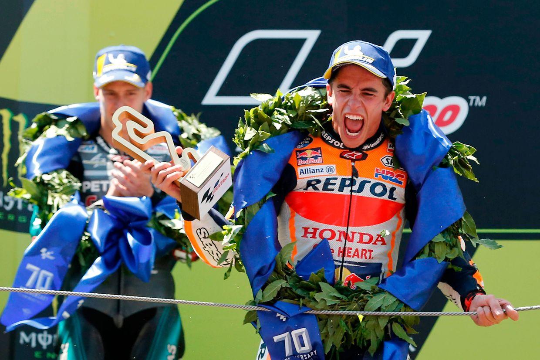 Sem surpresas, o espanhol Marc Marquéz terminou a prova em 1° lugar.
