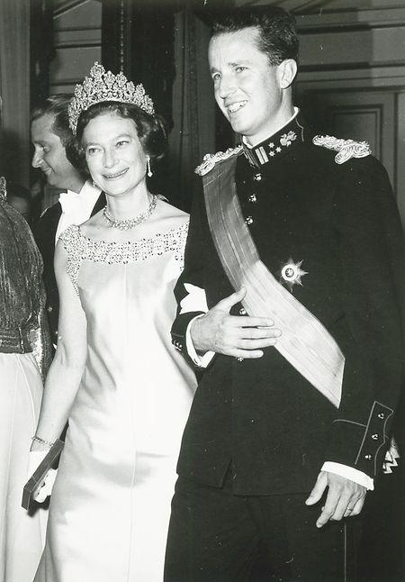Großherzogin Joséphine-Charlotte im Jahr 1968 neben ihrem jüngeren Bruder Baudouin, dem König von Belgien.
