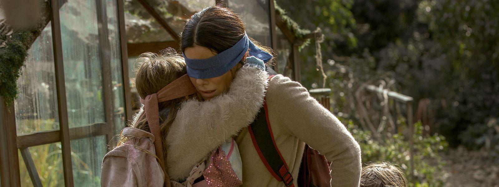 """Der Netflix-Film """"Bird Box"""" mit Sandra Bullock löste einen Hype aus: Jugendliche filmten sich beim Herumirren mit Augenbinde."""