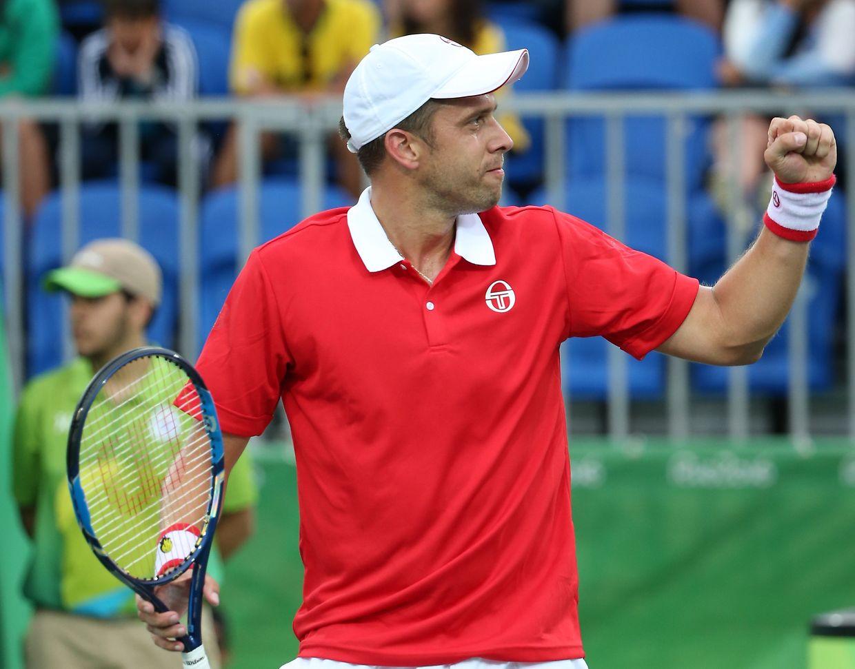 Gilles Muller nach seinem Sieg.