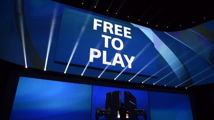 Free-to-play-Games sind auch auf Spielmessen ein heiß diskutiertes Thema -  hier eine Projektion bei der Playstation-Pressekonferenz von Sony auf der E3 2014 in Los Angeles.