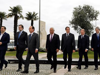 (L-R) Greek's Prime Minister Alexis Tsipras, Spain's Prime Minister Mariano Rajoy, French's President Francois Holland, Portugal's Prime Minister Antonio Costa, Cyprus's President Nikos Anastasiades, Malta's Prime Minister Joseph Muscat and Italy's Prime Minister Paolo Gentiloni, after posing for the family photo of the second summit of the European Union Southern Countries held at Belem Cultural Center in Lisbon Portugal, 28 January 2017. The heads of state and Government of Cyprus, Spain, France, Greece, Italy, Portugal and Malta, are taking part in the second summit of the European Union Southern Countries seeking common politics to Migration, economic growth, investment and convergence, security and defense and migration. JOAO RELVAS/LUSA