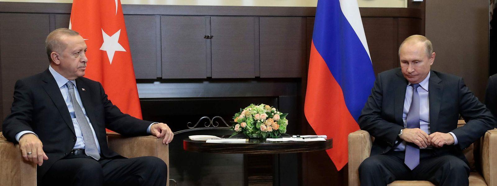 Vladimir Putin und sein türkischer Amtskollege Recep Tayyip Erdogan trafen sich am Dienstag.